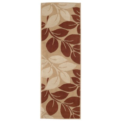 Large Leaves Beige/Brown Area Rug Rug Size: Runner 1'8