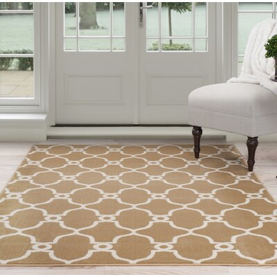 Lattice Beige/Brown Area Rug Rug Size: 5 x 77
