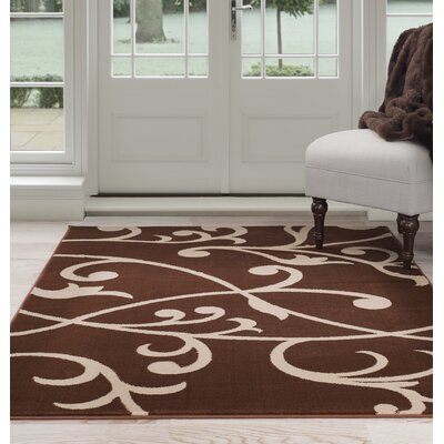 Berber Leaves Brown/Beige Area Rug Rug Size: 8 x 10