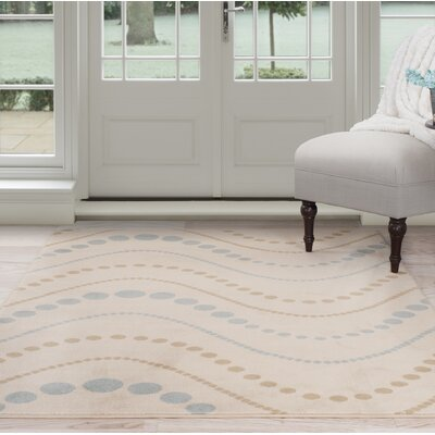 Modern Waves Beige/Brown Area Rug Rug Size: 33 x 5
