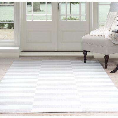 Checkered Stripes White/Gray Area Rug Rug Size: 4 x 6