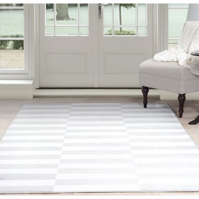 Checkered Stripes White/Gray Area Rug Rug Size: 8' x 10'