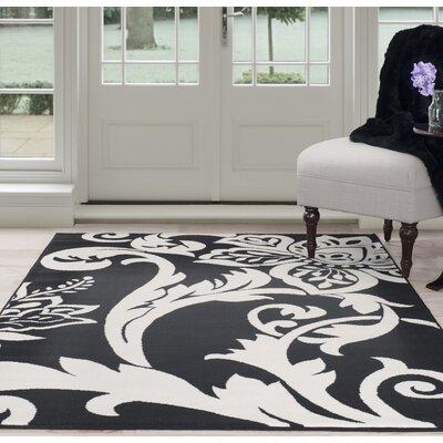 Floral Black/White Area Rug Rug Size: 5 x 77