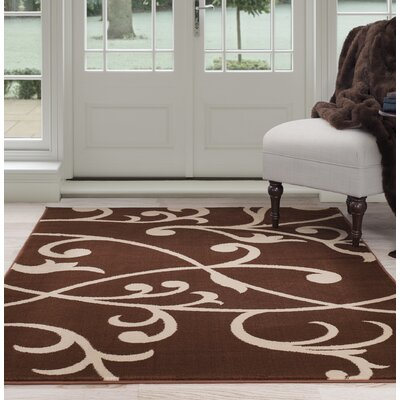 Berber Leaves Brown/Beige Area Rug Rug Size: 4 x 6