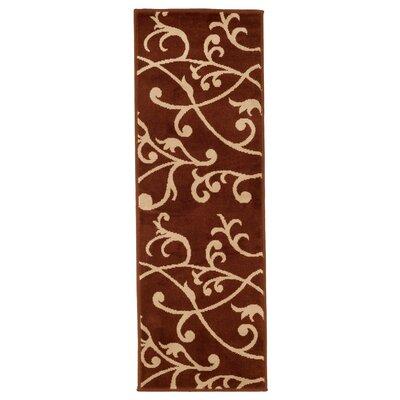 Berber Leaves Brown/Beige Area Rug Rug Size: Runner 18 x 5