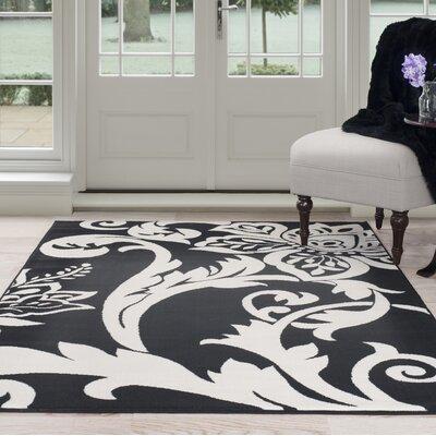 Floral Black/White Area Rug Rug Size: 4 x 6
