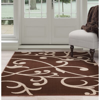 Berber Leaves Brown/Beige Area Rug Rug Size: 33 x 5
