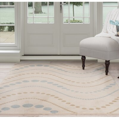 Modern Waves Beige/Brown Area Rug Rug Size: 5 x 77
