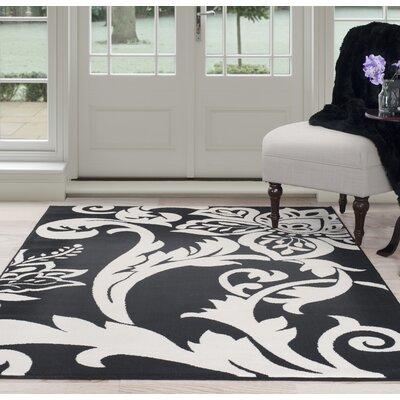 Floral Black/White Area Rug Rug Size: 8 x 10