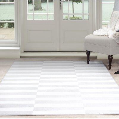 Checkered Stripes White/Gray Area Rug Rug Size: 33 x 5