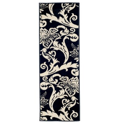 Floral Black/White Area Rug Rug Size: Runner 18 x 5