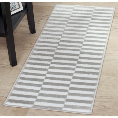Checkered Stripes White/Gray Area Rug Rug Size: Runner 18 x 5