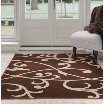 Berber Leaves Brown/Beige Area Rug Rug Size: 5 x 77