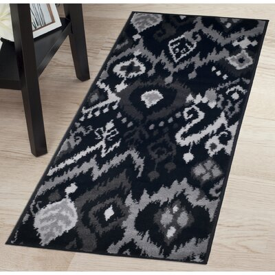 Ikat Black/Gray Area Rug Rug Size: Runner 18 x 5