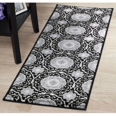 Black/Gray Area Rug Rug Size: Runner 18 x 5