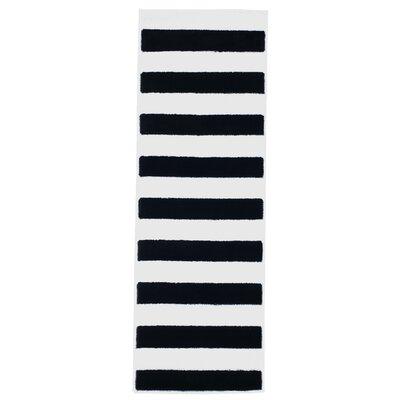 Bold Stripe Black Area Rug Rug Size: Runner 18 x 5