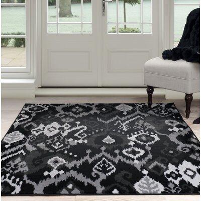 Ikat Black/Gray Area Rug Rug Size: 33 x 5