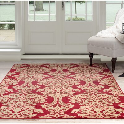 Oriental Red/Beige Area Rug Rug Size: Rectangle 4 x 6
