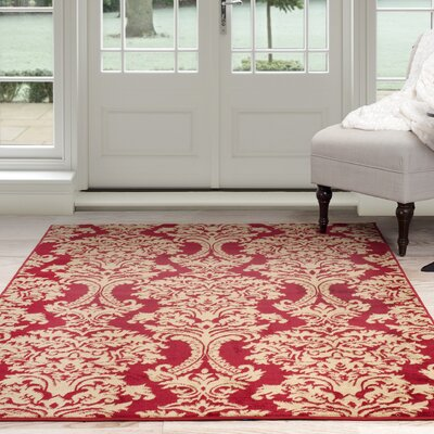 Oriental Red/Beige Area Rug Rug Size: 4 x 6