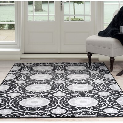 Black/Gray Area Rug Rug Size: 4 x 6