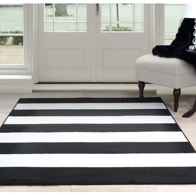 Bold Stripe Black/White Area Rug Rug Size: 4 x 6