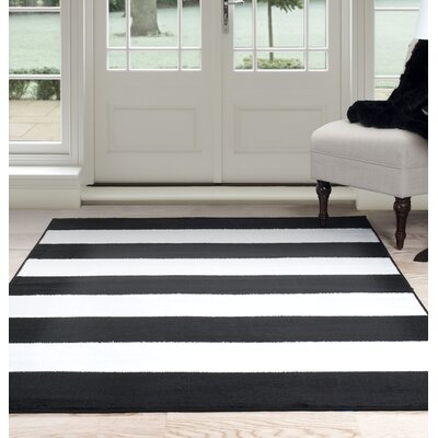 Bold Stripe Black/White Area Rug Rug Size: 33 x 5