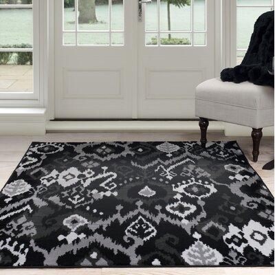 Ikat Black/Gray Area Rug Rug Size: 8 x 10