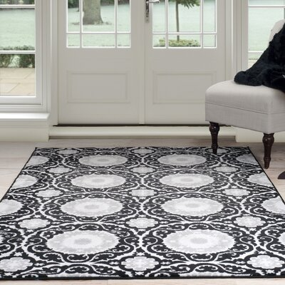 Black/Gray Area Rug Rug Size: 33 x 5