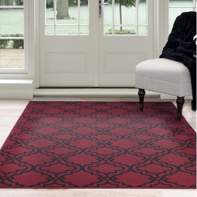 Double Lattice Red/Black Area Rug Rug Size: 4 x 6