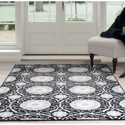 Black/Gray Area Rug Rug Size: 5 x 77