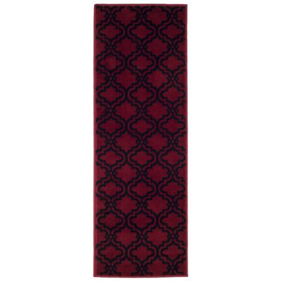 Double Lattice Red/Black Area Rug Rug Size: Runner 18 x 5