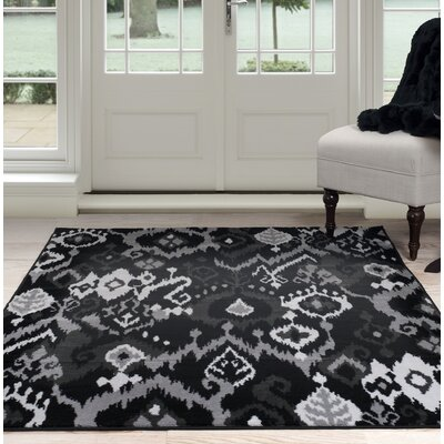 Ikat Black/Gray Area Rug Rug Size: 5 x 77