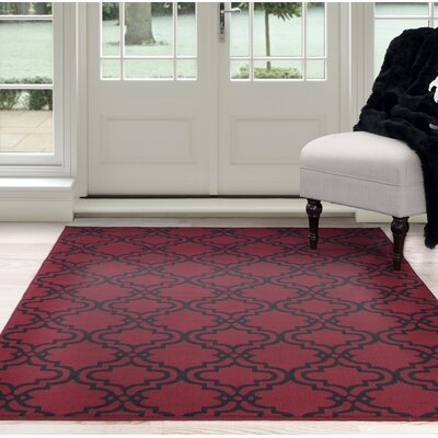 Double Lattice Red/Black Area Rug Rug Size: 8 x 10