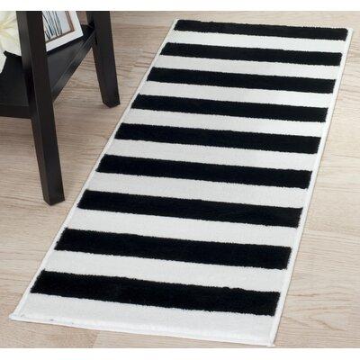 Bold Stripe Black/White Area Rug Rug Size: Runner 18 x 5