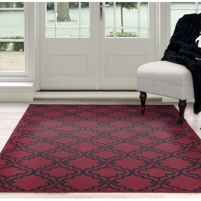 Double Lattice Red/Black Area Rug Rug Size: 5 x 77