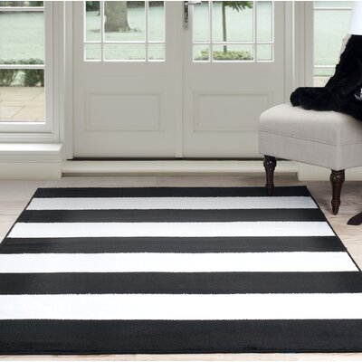 Bold Stripe Black Area Rug Rug Size: Rectangle 8 x 10