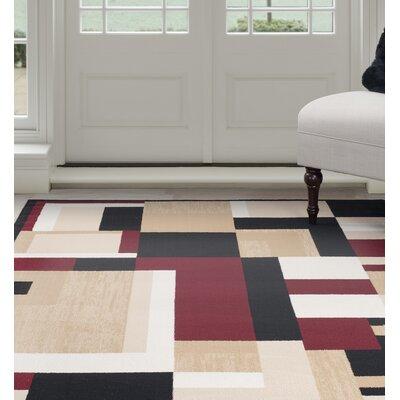 Modern Mondrian Beige/Red Area Rug Rug Size: 4 x 6
