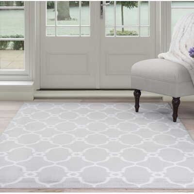 Lattice Gray/White Area Rug Rug Size: 4 x 6