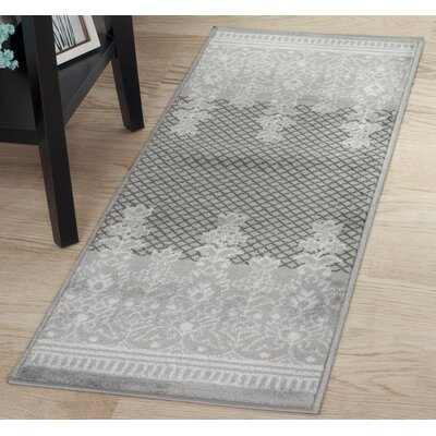 Royal Garden Gray Area Rug Rug Size: Runner 18 x 5
