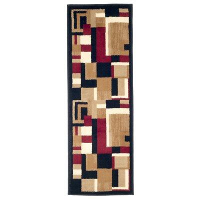 Modern Mondrian Beige/Red Area Rug Rug Size: Runner 18 x 5