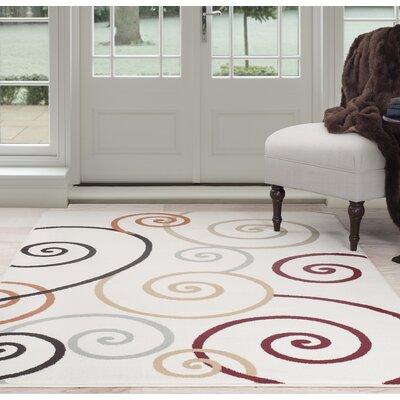 Spirals Beige/Red Area Rug Rug Size: 8 x 10