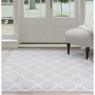 Lattice Gray/White Area Rug Rug Size: 8 x 10