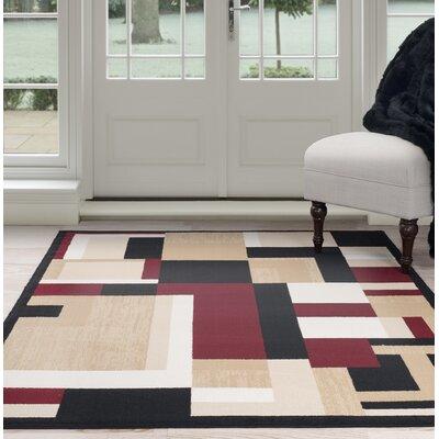 Modern Mondrian Beige/Red Area Rug Rug Size: 5 x 77