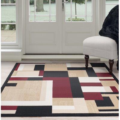 Modern Mondrian Beige/Red Area Rug Rug Size: 8 x 10