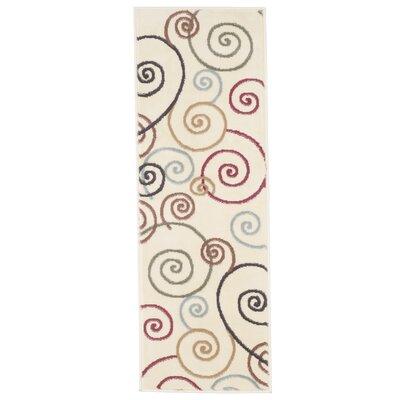 Spirals Beige/Red Area Rug Rug Size: Runner 18 x 5