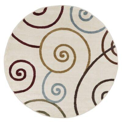 Spirals Beige/Red Area Rug Rug Size: 5 Round