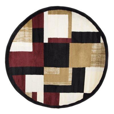 Modern Mondrian Beige/Red Area Rug Rug Size: 5 Round