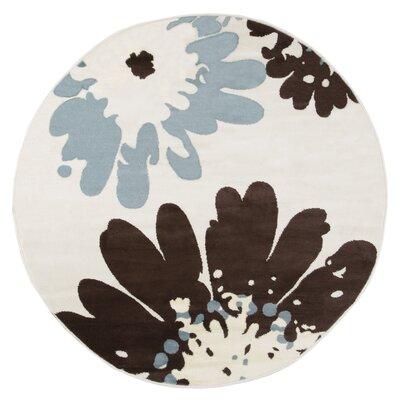 Flower Beige/Black Area Rug Rug Size: 5 Round