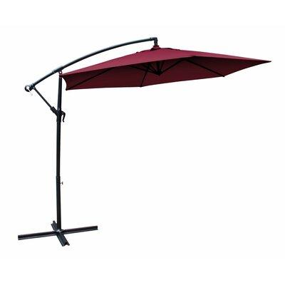 10 Fabric Steel Patio Garden Cantilever Umbrella Color: Crimson
