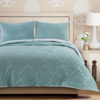 Cameo Quilt Set Size: King, Color: Aqua Haze